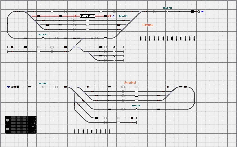 Gleisbild aus iTrain für die Ebenen 2 und 4