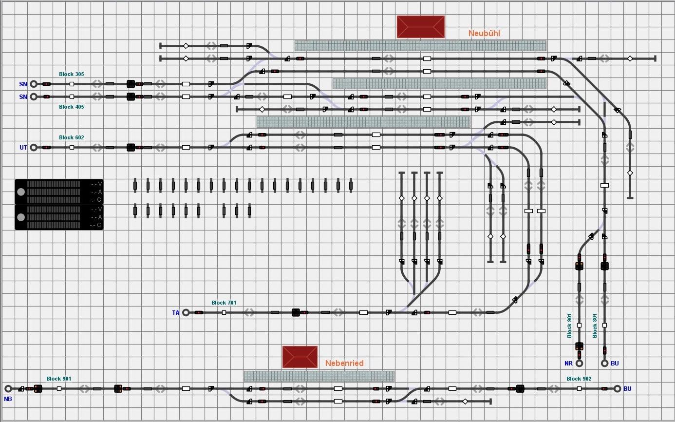 Gleisbild aus iTrain für die Ebenen 6 und 8